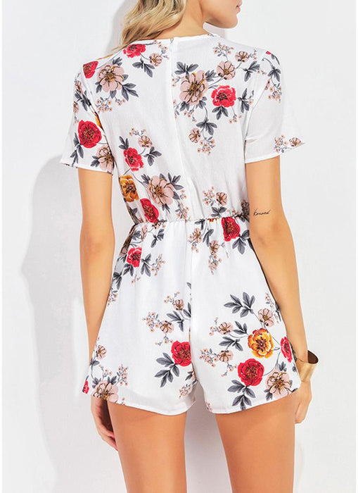 Chicloth Sexy Floral Print Criss Cross Plunge V-Neck Summer Rompers-Chicloth