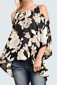 A| Chicloth Off Shoulder Floral Print 3/4 Flare Sleeves Asymmetrical Women's Blouse