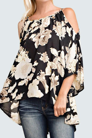 A| Chicloth Off Shoulder Floral Print 3/4 Flare Sleeves Asymmetrical Women's Blouse-Chicloth