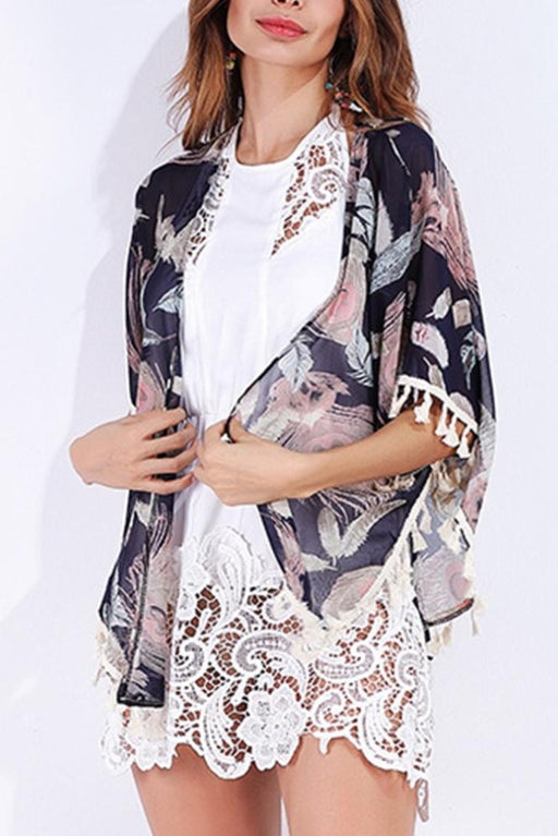 B| Chicloth Chiffon Cardigan Floral Print Fringed Tassels Women's Kimono-Chicloth