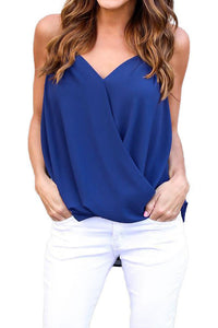 A| Chicloth Fashion Chiffon V Neck Strap Draped Asymmetrical Solid Women's Cami