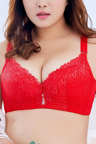 A| Chicloth Plus Size 3/4 Cup Lace Push Up Bra-Chicloth