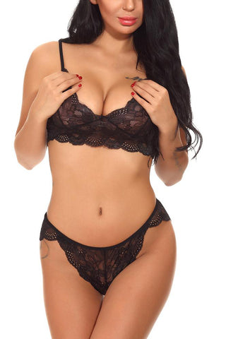 A| Chicloth Lace Plunge See Through Tie Back Bra And Briefs Lingerie Set-Chicloth