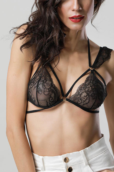 A| Chicloth Women Sheer Lace Bra Strappy O-ring Elastic Wireless Unpadded Cage Lingerie Bralette-Chicloth