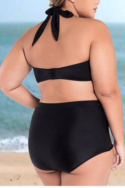 A| Chicloth Halter Neck Backless Padded Push Up Bathing Suit-Chicloth
