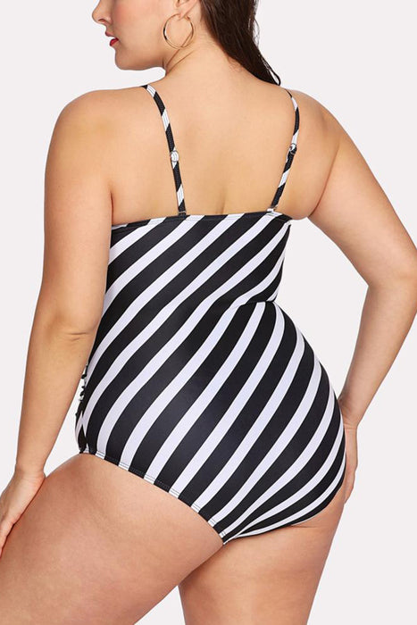 A| Chicloth Plus Size Striped Shoulder Strap Sleeveless One Piece Swimsuit-Chicloth