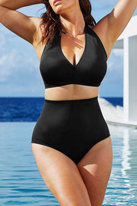 A| Chicloth Plus Size Halter High Waist Push Up Bikini-Chicloth