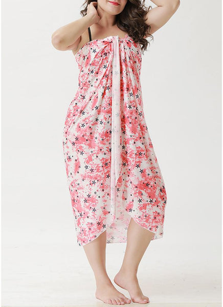 A| Chicloth Beach Floral Printed Cover Up Bikini Cover-up Dress