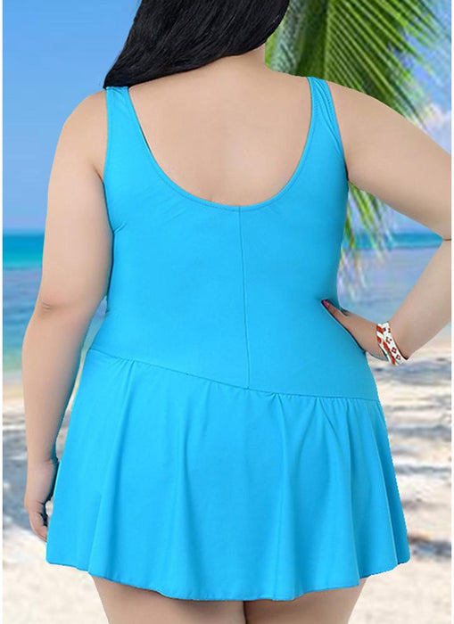 A| Chicloth Plus Size Spaghetti Strap Ruffle Backless One Piece Swimsuit-Chicloth