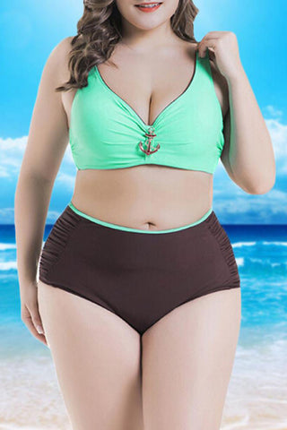 A| Chicloth Sexy Women Swimwear Bikini Set Color Splice Padded Underwire High Waist Swimsuit Beach Wear-Chicloth