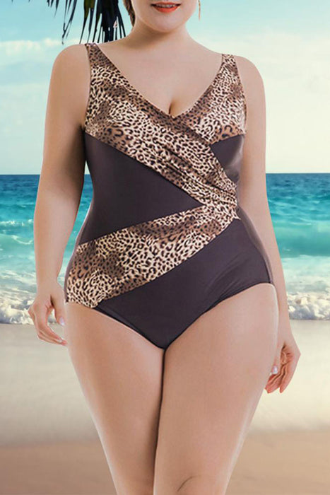 ba7b34512b A| Chicloth Women Plus Size One Piece Swimsuit Leopard Print Monokini Swimwear  Bathing Suit-