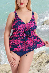 A| Chicloth Plus Size Floral Print Spaghetti Strap Summer Swimsuit-Chicloth