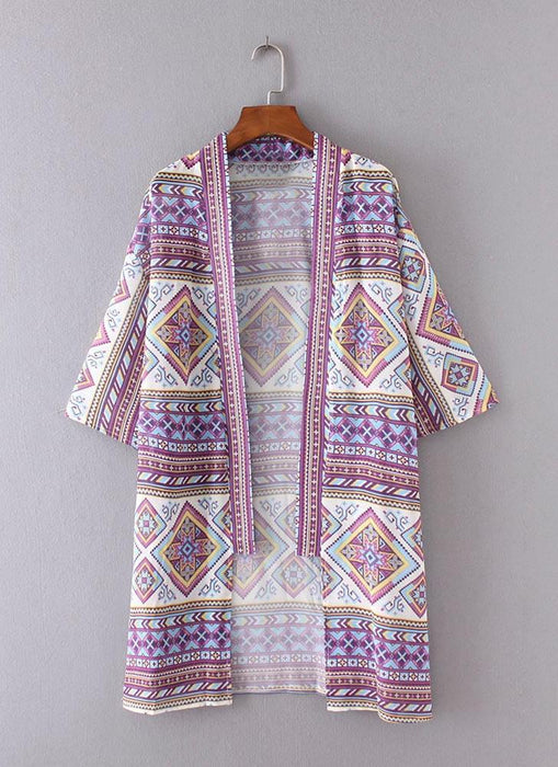 B| Chicloth Bohemian Fashion Chiffon Geometric Print Loose Women's Kimono-Chicloth