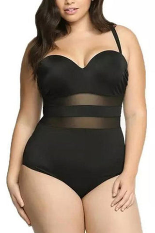 A| Chicloth Large Size Mesh Splice Push Up One Piece Swimsuit-Chicloth