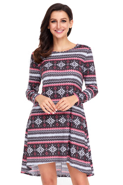 Chicloth Geometric Snowflake Black Red Long Sleeve Christmas Dress