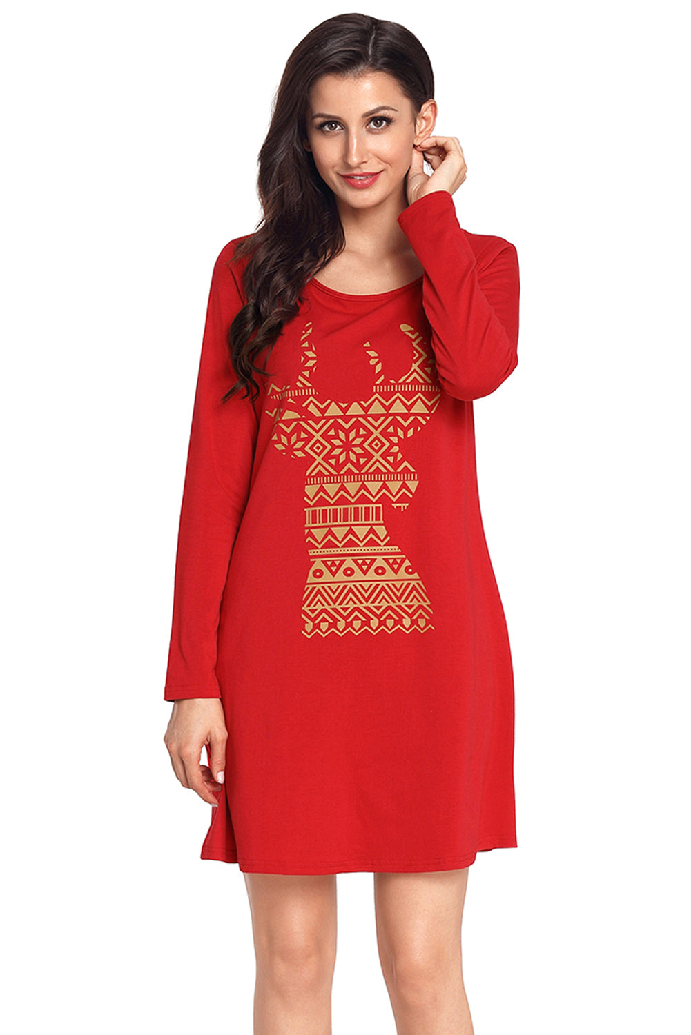 Chicloth Geometric Snowflake Reindeer Red Christmas T-shirt Dress - M / Red