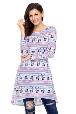 Chicloth Geometric Snowflake White Long Sleeve Christmas Dress