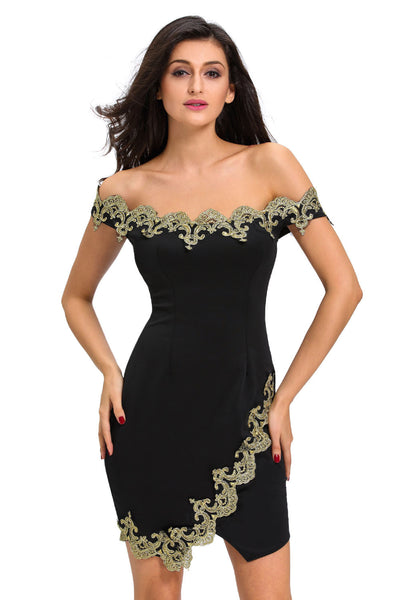 Chicloth Gold Lace Applique Black Off Shoulder Mini Dress