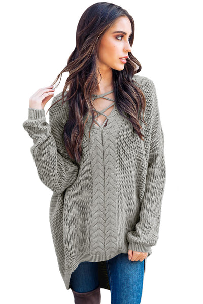 A| Chicloth Gray Crisscross Oversize Sweater-Sweaters-Chicloth