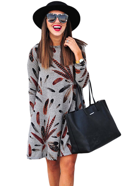Chicloth Gray Feather Graphic Pocket Tunic Dress