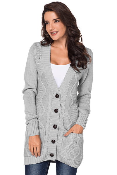 A| Chicloth Gray Front Pocket And Buttons Closure Cardigan-Sweaters-Chicloth