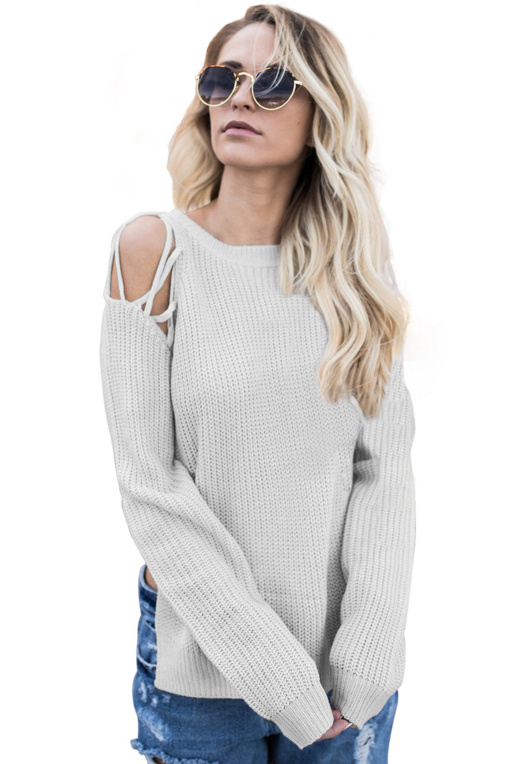 Chicloth Gray Lace up Shoulder Sweater - S / Gray