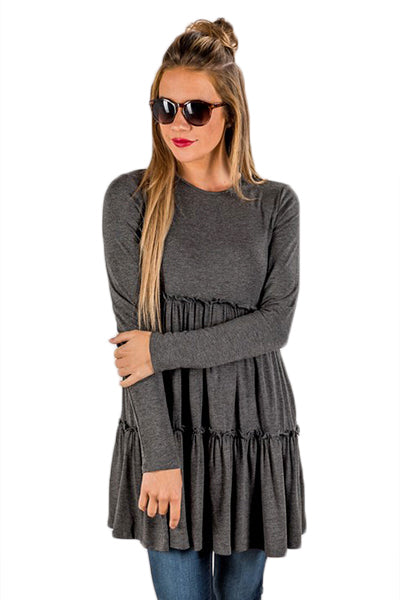 Chicloth Gray Long Sleeve Layered Babydoll Tunic - M / Gray