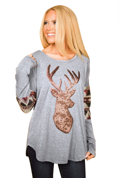 Chicloth Gray Loose Sequin Christmas Reindeer Top