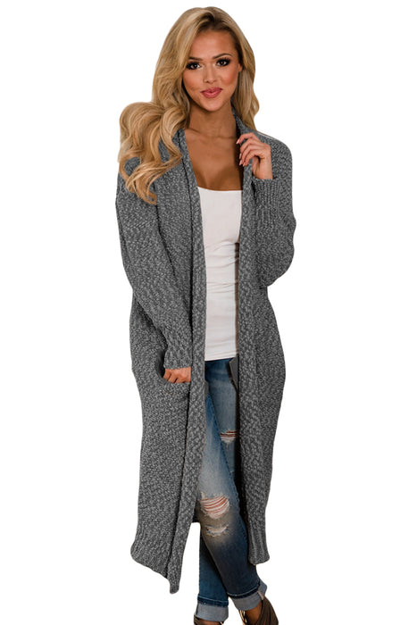 A| Chicloth Gray Open Front Knit Long Cardigan-Sweaters-Chicloth