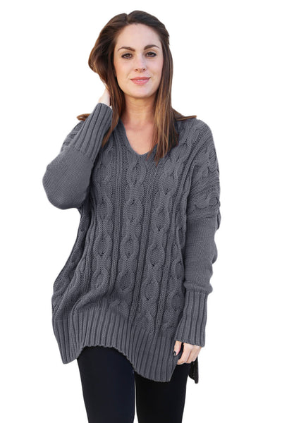 A| Chicloth Gray Oversized Cozy Up Knit Sweater-Sweaters-Chicloth