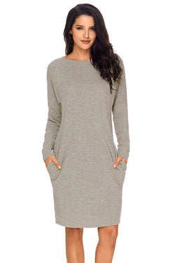 Chicloth Gray Pocketed Loose Fit Dress