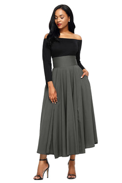 Chicloth Gray Retro High Waist Pleated Belted Maxi Skirt