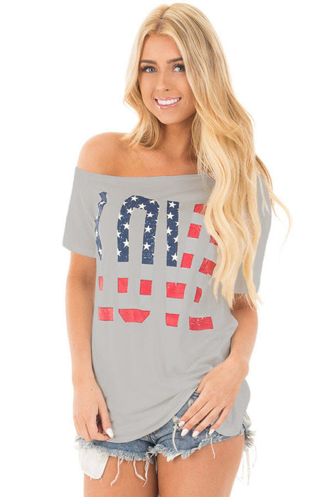 Chicloth Gray Short Sleeve American Flag LOVE Print Top-Blouse-Chicloth