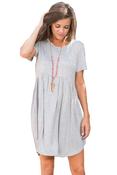 Chicloth Gray Short Sleeve Pullover Babydoll Style Casual Dress-Mini Dresses-Chicloth