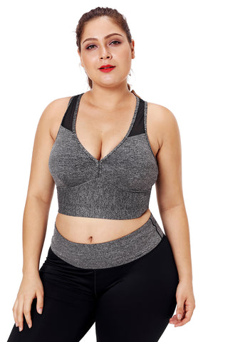 Z| Chicloth Gray Sleevelss Racerback Plus Size Yoga Bra