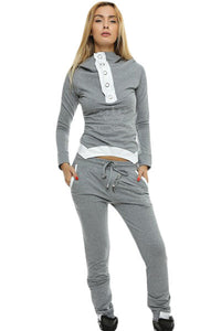 Chicloth Gray Street Fashion Hooded Jogging Suit