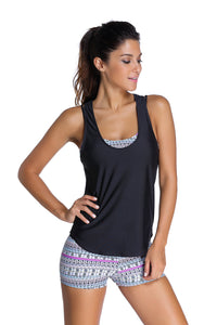 A| Chicloth Grayish Sports Bra Tankini Swimsuit With Black Vest-Tankinis-Chicloth