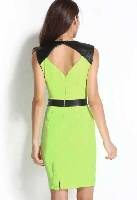 Chicloth Green Black V Neck-line Bodycon Dress With Waterfall Details-Chicloth