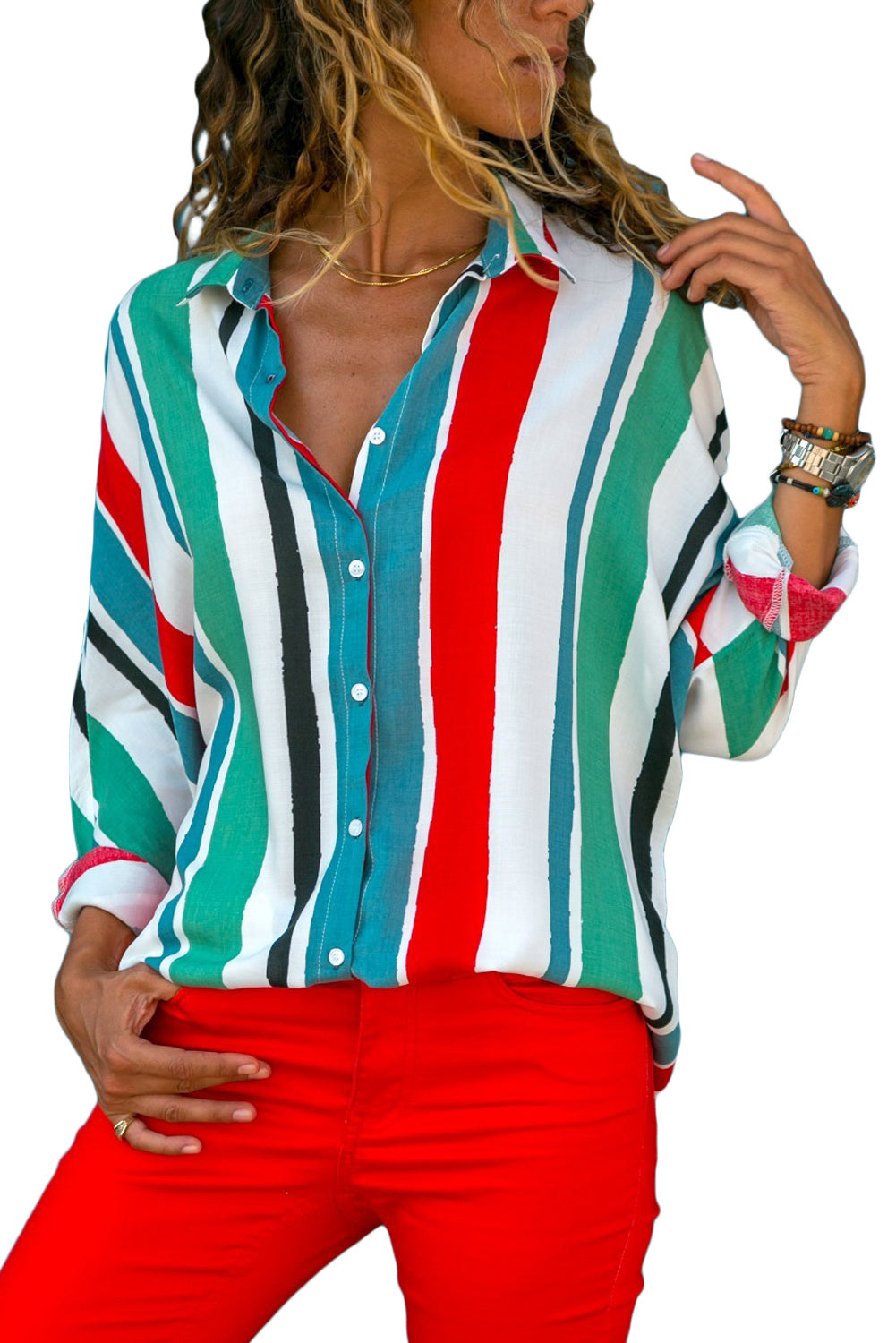 A| Chicloth Green Blue Striped Long Sleeve Button Down Shirt-Blouses-Chicloth