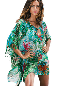 Z| Chicloth Green Bohemian Print Leaf Fringed Beach Tunic