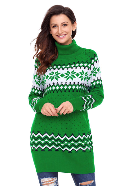 A| Chicloth Green Christmas Snowflake Knit Turtleneck Jumper-Sweaters-Chicloth