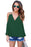 Chicloth Green Cold Shoulder V Neck Wrap Front Breezy Blouse-Blouse-Chicloth