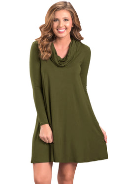 Chicloth Green Cowl Neck Long Sleeve Casual Loose Swing Dress