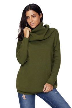 Chicloth Green Cozy Cowl Neck Long Sleeve Sweater