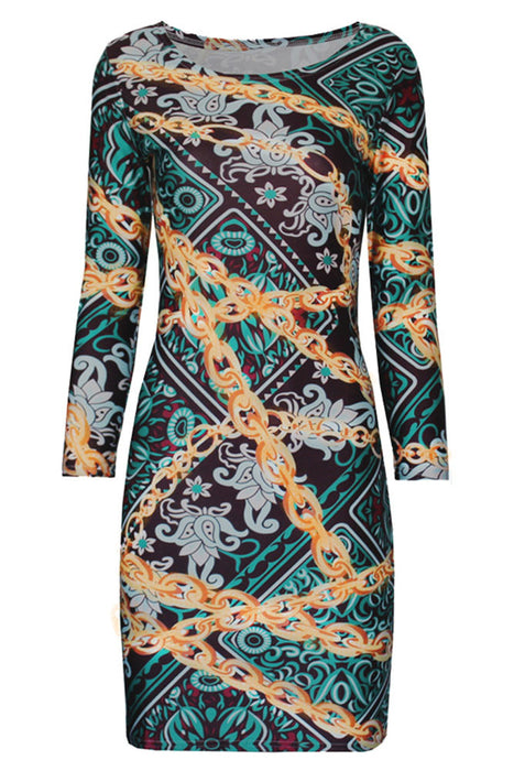 Chicloth Green Gold Chian Print Bodycon Dress-Chicloth