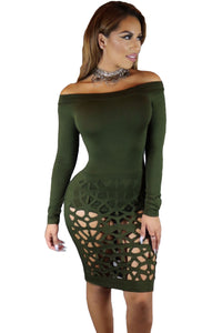 Chicloth Green Long Sleeve Off Shoulder Hollow Out Bodysuit Dress