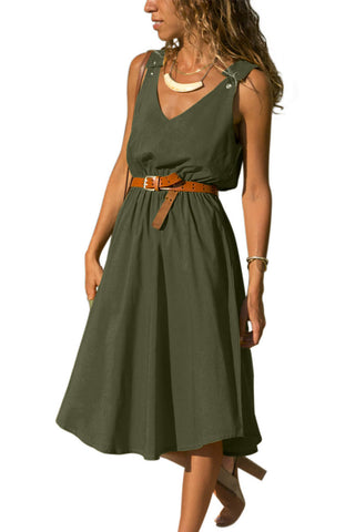 Z| Chicloth Green V Neck A-Line Sundress