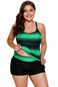 A| Chicloth Greenish Strappy Hollow-Out Back Plus Size Tankini-Plus Size Swimsuits-Chicloth
