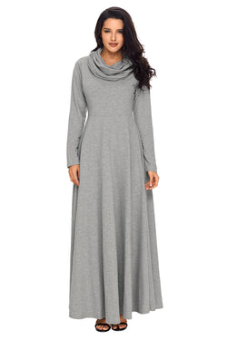 Chicloth Grey Cow Neck Long Sleeve Maxi Dress