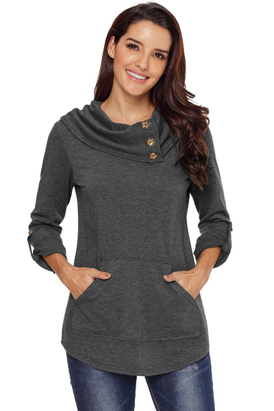 A| Chicloth Grey Cowl Neck Kangaroo Pocket Pullover Top-Coats-Chicloth